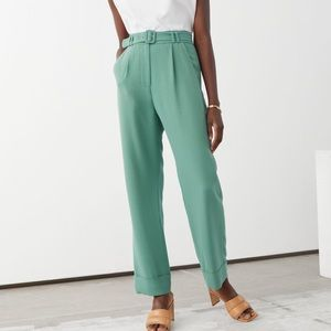 & Other stories Belted High Waist Trousers